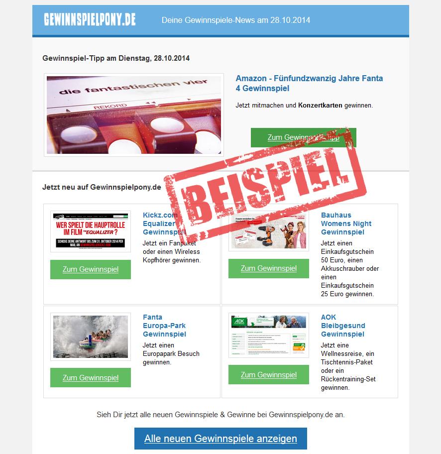 Beispiel Newsletter Gewinnspielpony.de
