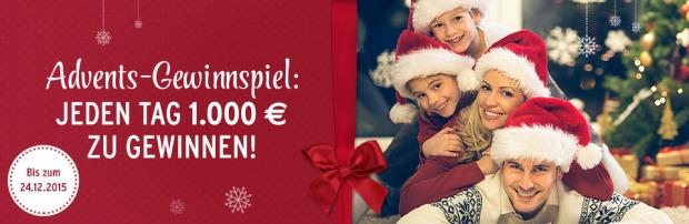 1000 Euro Advents Gewinnspiel